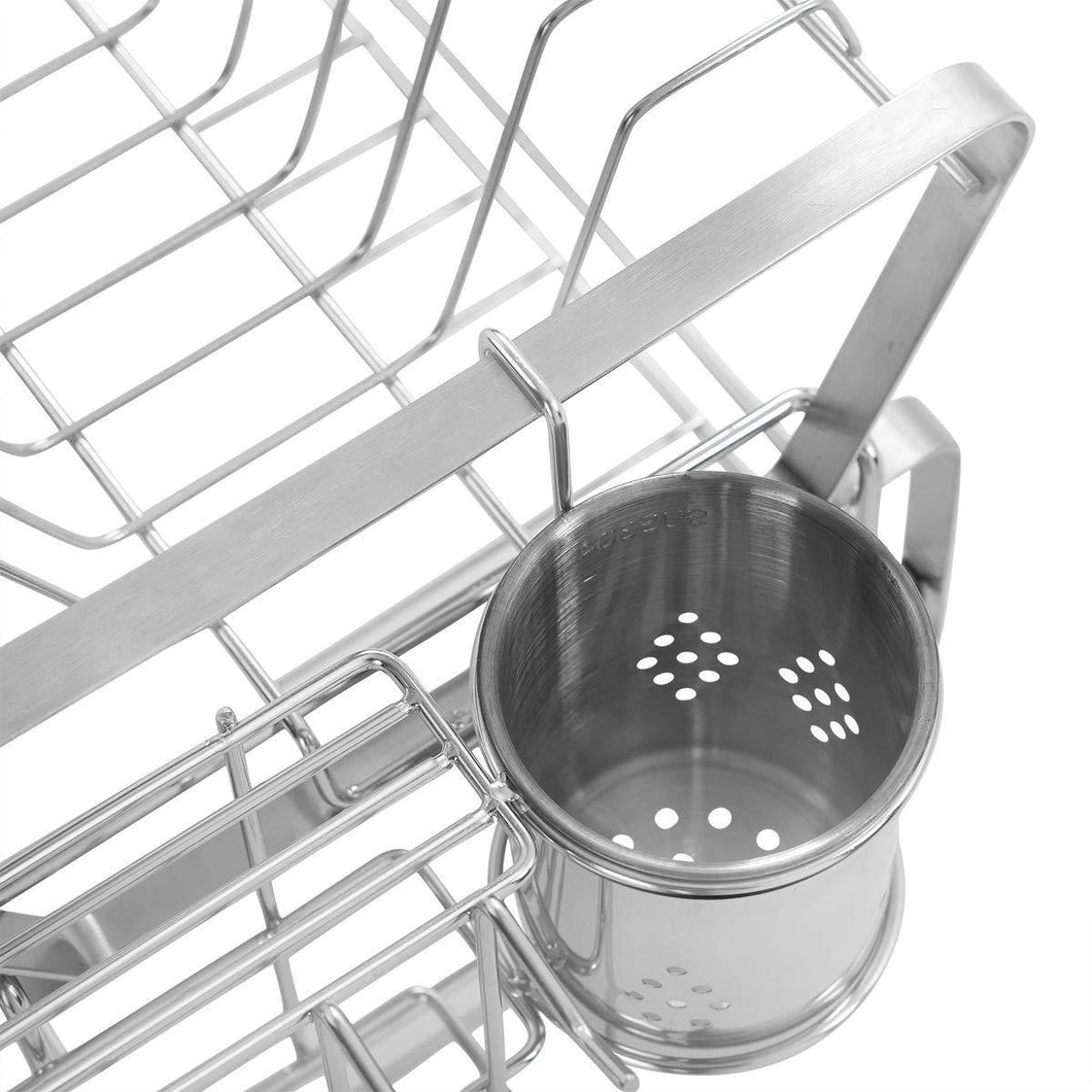 Discover the best smio 2 tier dish rack 304 stainless steel dish drying rack with drainboard