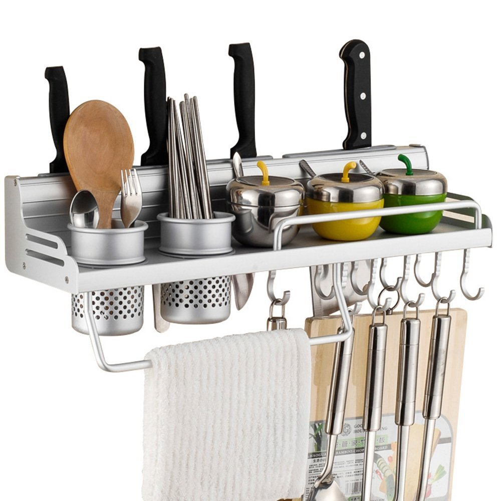Wall Mounted Pot Pan Rack Multifunctional 6-in-1 Kitchen Bookshelf Storage Rack with Bottle Rack Silverware Caddy Cutlery Blocks Hanger Hooks Pot Organizers Space Aluminum (31inch 3Cups 10Hooks)