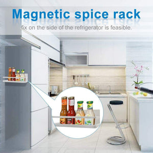 Shop spice rack monoled spice rack organizer magnetic single tier fridge spice rack shelves organizer space saving storage rack for refrigerator kitchen cabinet cupboard pantry door seasonings white