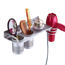 Discover mylifeunit wall mount hair dryer hanging rack organizer aluminum hair dryer holder with 2 cups