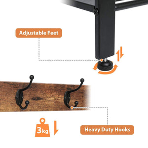 Top rated kingso industrial coat rack hall tree entryway coat shoe rack 3 tier shoe bench 7 hooks wood look accent furniture with stable metal frame easy assembly
