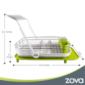 Save mr siga zova premium stainless steel multi functional dish drying rack with cutlery holder and wine glass rack dish drainer utensil organizer for kitchen large white green