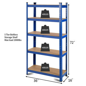 Amazon best tangkula metal storage shelves heavy duty steel frame 5 tier organizer high weight capacity with adjustable shelves multi use storage rack for home office garage storage metal shelf 36lx72h 4