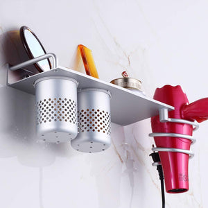 Discover the mylifeunit wall mount hair dryer hanging rack organizer aluminum hair dryer holder with 2 cups