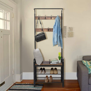 The best kingso industrial coat rack hall tree entryway coat shoe rack 3 tier shoe bench 7 hooks wood look accent furniture with stable metal frame easy assembly