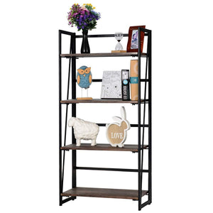 Amazon best good life folding bookshelf rack 4 tiers bookcase rustic decor furniture shelf storage rack no assembly industrial stand sturdy shelf organizer for home office 23 5 x 11 7 x 49 inches hou545