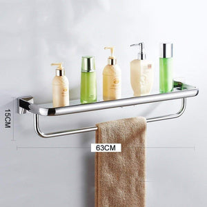 Order now deed wall hanging mount rack toilet shelf stainless steel bathroom shelf dressing table dressing table tempered glass mirror frame storage rack 63cm