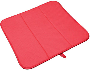 SINLAND Microfiber Dish Drying Mat Super Absorbent Dish Drying Rack Pads Kitchen Counter Mat 16Inch X 18Inch Red
