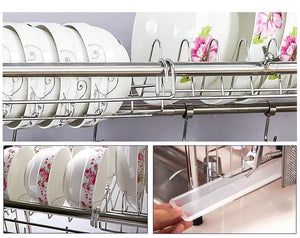 Get mago retractable 304 stainless steel dish rack drain rack sink universal pool frame kitchen shelf multi function kitchen storage size 100cm x 28cm x 82cm