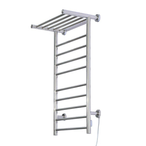 Buy fdinspiration 35 5 electric wall mounted stainless steel bathroom towel warmer dryer heated rail w 9 bars top shelf rack with ebook