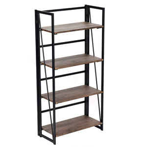 Try good life folding bookshelf rack 4 tiers bookcase rustic decor furniture shelf storage rack no assembly industrial stand sturdy shelf organizer for home office 23 5 x 11 7 x 49 inches hou545