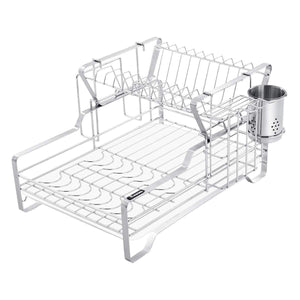 Exclusive smio 2 tier dish rack 304 stainless steel dish drying rack with drainboard