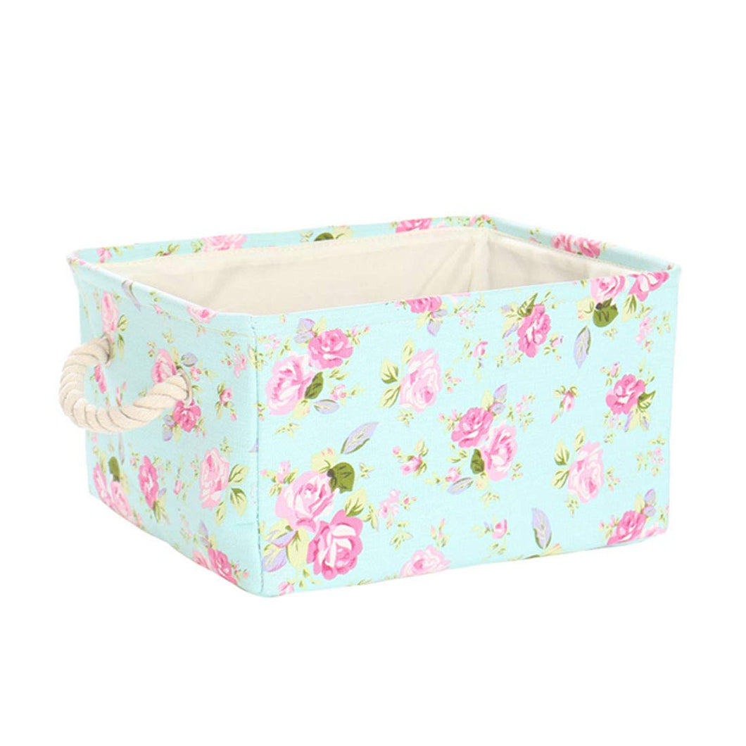 uxcell Storage Basket Bin, Canvas Fabric Toy Organizer Container with Rope Handles, Collapsible FabricToy Box for Shelves Office Bedroom Closet,Floral Small - 13.8 inches x 9.8 inches x 6.7 inches