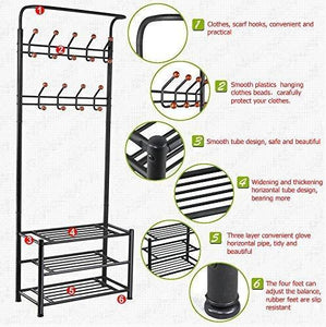 Buy now world pride metal multi purpose clothes coat stand shoes rack umbrella stand with 18 hanging hooks max load capicity up to 67 5kg 148 8lb 26 7 x 12 2 x 74 black