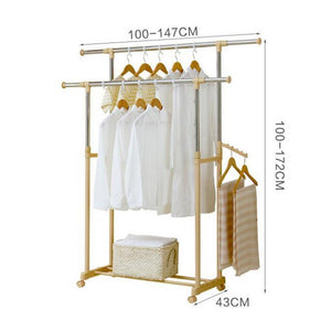 Save lpymxcoat rack floor bedroom drying rack floor lift drying racks double rod hangers adjustable shelf racks stainless steel castors gold