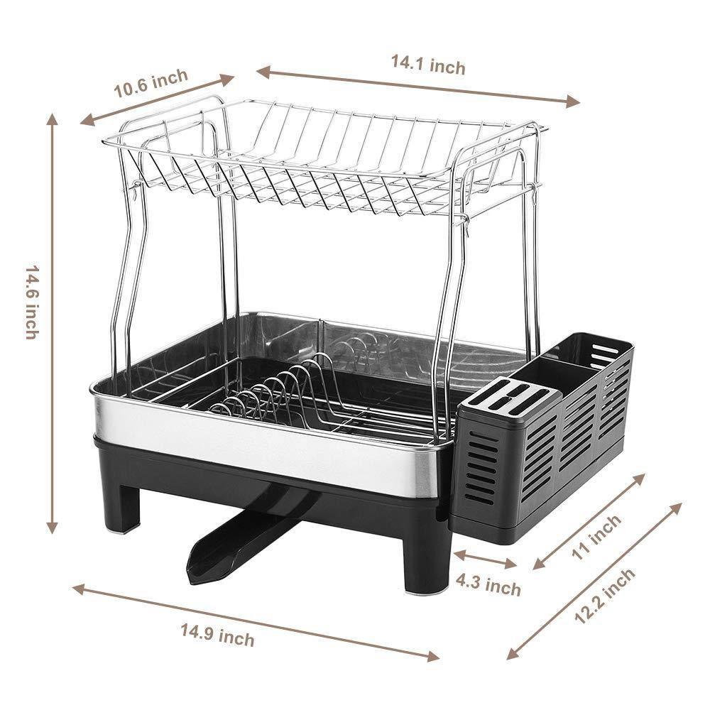Storage organizer kedsum rust proof stainless dish rack 2 tier detachable dish drying rack with removable utensil holder dish drainer with 360 degrees adjustable swivel spout for kitchen counter