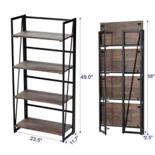 Amazon good life folding bookshelf rack 4 tiers bookcase rustic decor furniture shelf storage rack no assembly industrial stand sturdy shelf organizer for home office 23 5 x 11 7 x 49 inches hou545