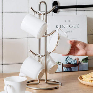 Budget 6 cup mug tree holder cups drainer metal mugs drying rack tea cup organizer hanger 39 17 17cm