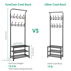 Selection tomcare coat rack with 3 tier shoe rack hall tree entryway bench organizer 18 hooks coat hanger hat racks heavy duty with shoe storage shelves metal black for doorway hallway