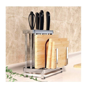 Purchase multifunctional cutting board and knife holder stainless steel organizer with anti slippery mat and bottom removable water tray kitchen utensils storage drying drainer rack for knives pot cover fork