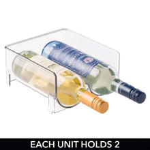 The best mdesign plastic free standing wine rack storage organizer for kitchen countertops table top pantry fridge holds wine beer pop soda water bottles stackable 2 bottles each 8 pack clear