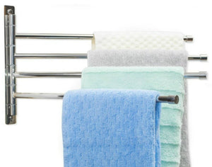 "Swing Arm Towel Bar - Wall Mounted Stainless Steel Bathroom Towel Rack - Hanger Towel Holder Organizer - Perfect Towel Rack With 4 Arms - Polished Finish (10"" X 17"")"