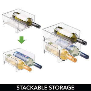 Top rated mdesign plastic free standing wine rack storage organizer for kitchen countertops table top pantry fridge holds wine beer pop soda water bottles stackable 2 bottles each 8 pack clear