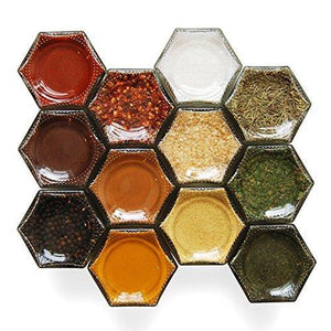 Amazon best gneiss spice large empty magnetic spice jars create a diy hanging spice rack on your fridge includes hexagon glass jars magnetic lids spice labels 24 large jars silver lids