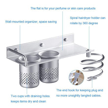 Buy now hair dryer holder wall mount toothbrush hairdryer holder organizer storage handing rack upgrade special aluminum bathroom hanging rack organizer with 2 cups