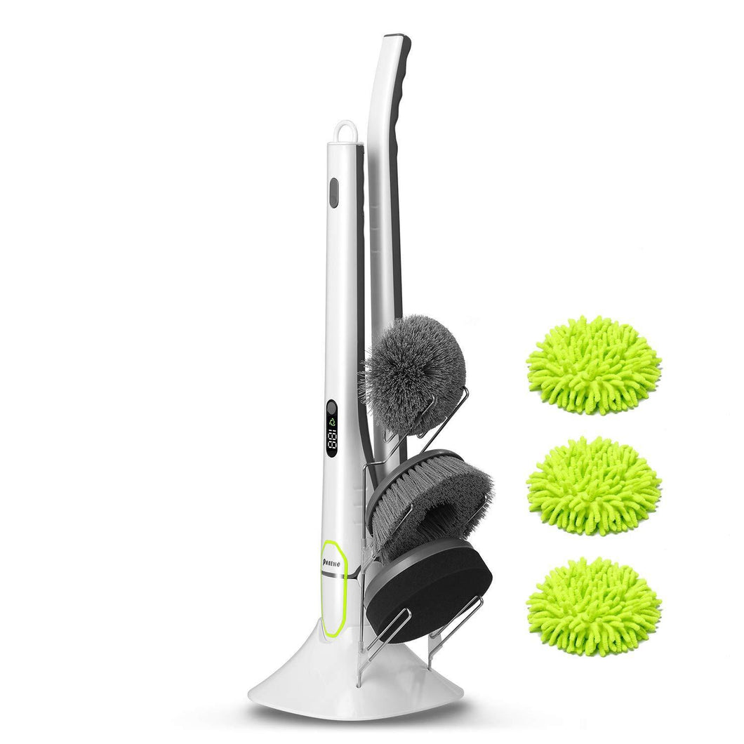 The best phaewo spin scrubber with led display long extension handle shower cleaner including 2 power scrubber brushes 3 mops one sponge and a storage rack new generation of cleaning supplies white