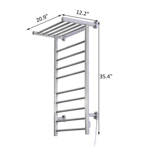Cheap fdinspiration 35 5 electric wall mounted stainless steel bathroom towel warmer dryer heated rail w 9 bars top shelf rack with ebook