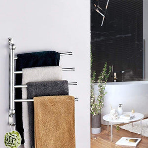 Budget friendly elifeapply swivel towel rack stainless steel swing out towel bar 4 swing arms wall mounted towel holder space saving swinging towel bar for bathroom and kitchen
