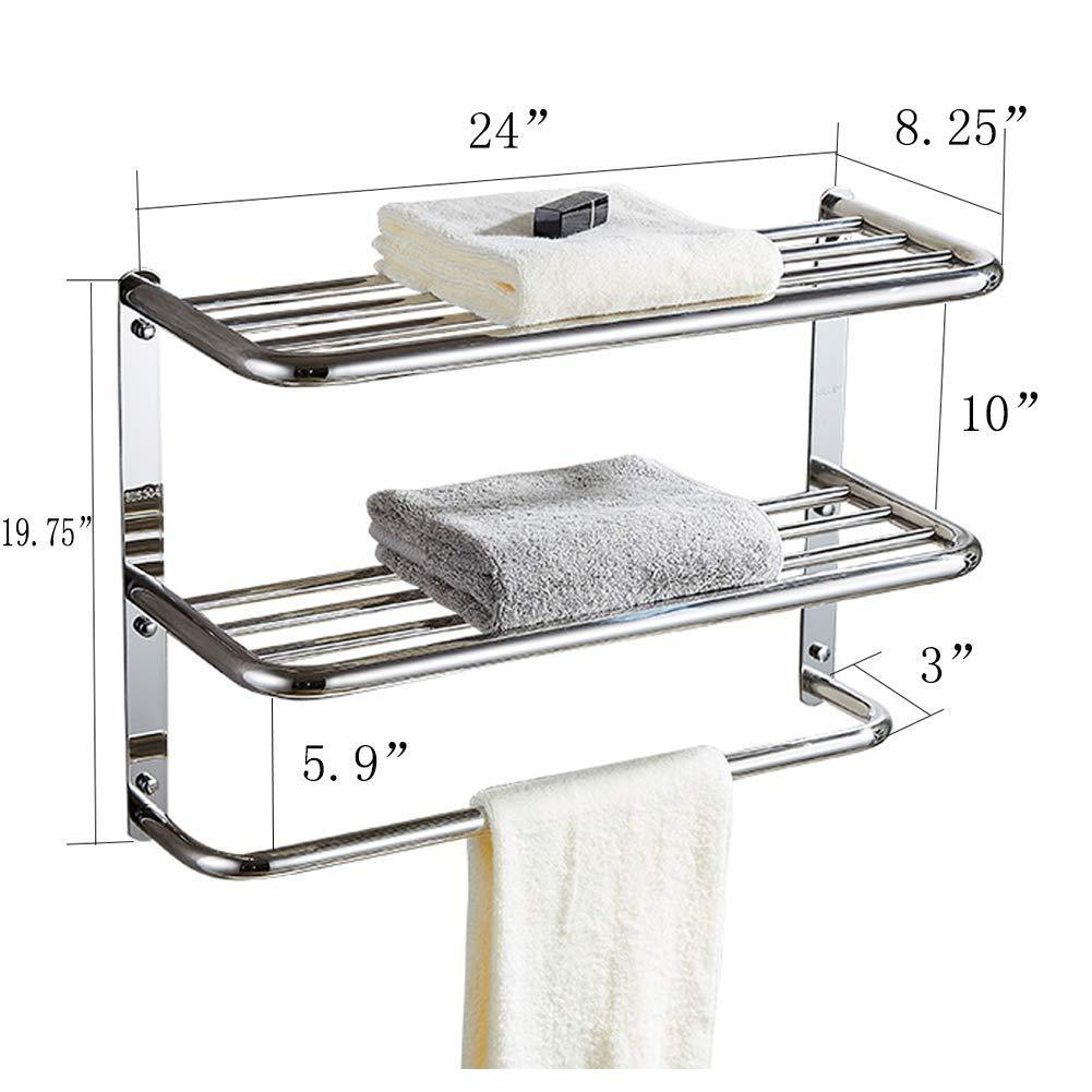 Cheap kaileyouxiangongsi 24 inch shelf towel rack stainless steel two tier