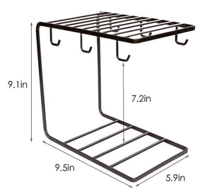 Selection 7u metal coffee mug cup holder organizer stand for cabinet counter desk kitchen drying display rack with 6 hooks for large mug 9 5 x 9 1inch black