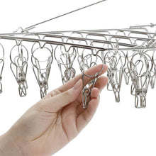 Buy now tinyunicorn 52 clips metal clothespins folding stainless steel clothes drying rack portable metal hanger great for quick hand wash of delicates