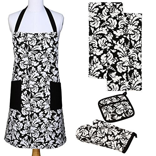 Yourtablecloth Kitchen Gift Set-1 Kitchen Apron, an Oven Mitt & A Pot Holder-2 Kitchen Dish Towels or Tea Towels-Ideal Cooking Gifts or Gift Ideas for Chefs-Suitable for Men & Women-Black