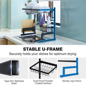 Shop langria dish drying rack over sink stainless steel drainer shelf professional 2 tier utensils holder display stand for kitchen counter organization fully customizable 25 6 inches width black