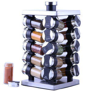 Get orii gsr3920 rotunda 20 jar spice rack silver black