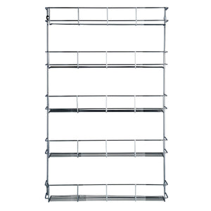 Try vonshef 5 tier spice rack chrome plated easy fix for herbs and spices suitable for wall mount or inside cupboard