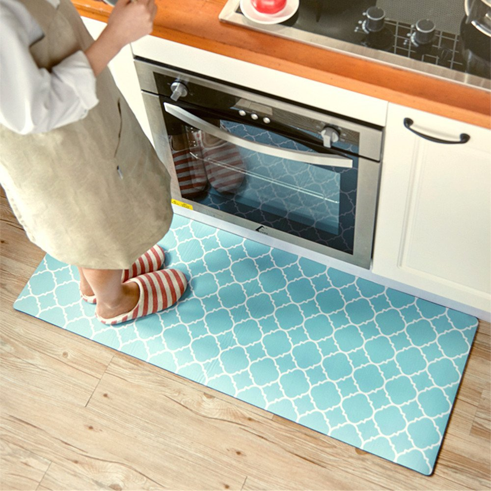 Ustide Blue Geometry Design Kitchen Rug Runner,Non-Slip Oil Proof Rug for Kitchen/Bedroom/Entryway,17.7x59