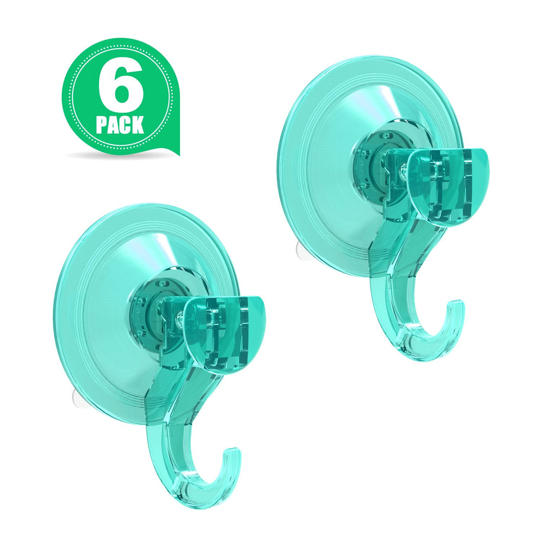 Shower Suction Hook LUXEAR Suction Cup Hangers Wreath Hanger Holder Vacuum Suction Hooks for Windows Bathroom Shower Towel Robe Coat, 6 Pack (Lightseagreen)