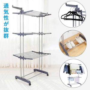 Buy voilamart clothes drying rack 3 tier with wheels foldable clothes garment dryer compact storage heavy duty stainless steel hanger laundry indoor outdoor airer
