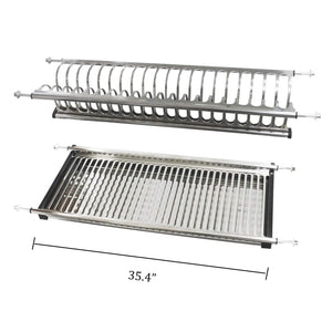 Buy now modern 2 tier kitchen folding dish drying dryer rack 35 4 for cabinet stainless steel drainer plate bowl storage organizer holder