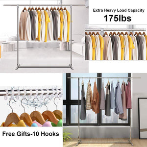 Products reliancer heavy duty large garment rack stainless steel clothes drying rack commercial grade extendable 47 77inch clothes rack adjustable clothes hanger rolling rack with 4 casters tool golves 10 hook