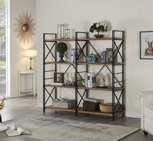 Try homissue 4 shelf industrial double bookcase and book shelves storage rack display stand etagere bookshelf with open 8 shelf retro brown 64 2 inch height