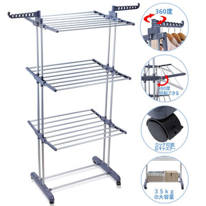 Budget friendly voilamart clothes drying rack 3 tier with wheels foldable clothes garment dryer compact storage heavy duty stainless steel hanger laundry indoor outdoor airer