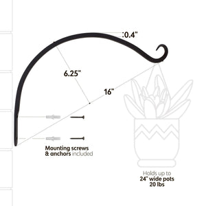 On amazon 7penn hanging plant bracket 4 pack curved 14 inch plant hook wall plant hanger windchime hanger bird feeder hook