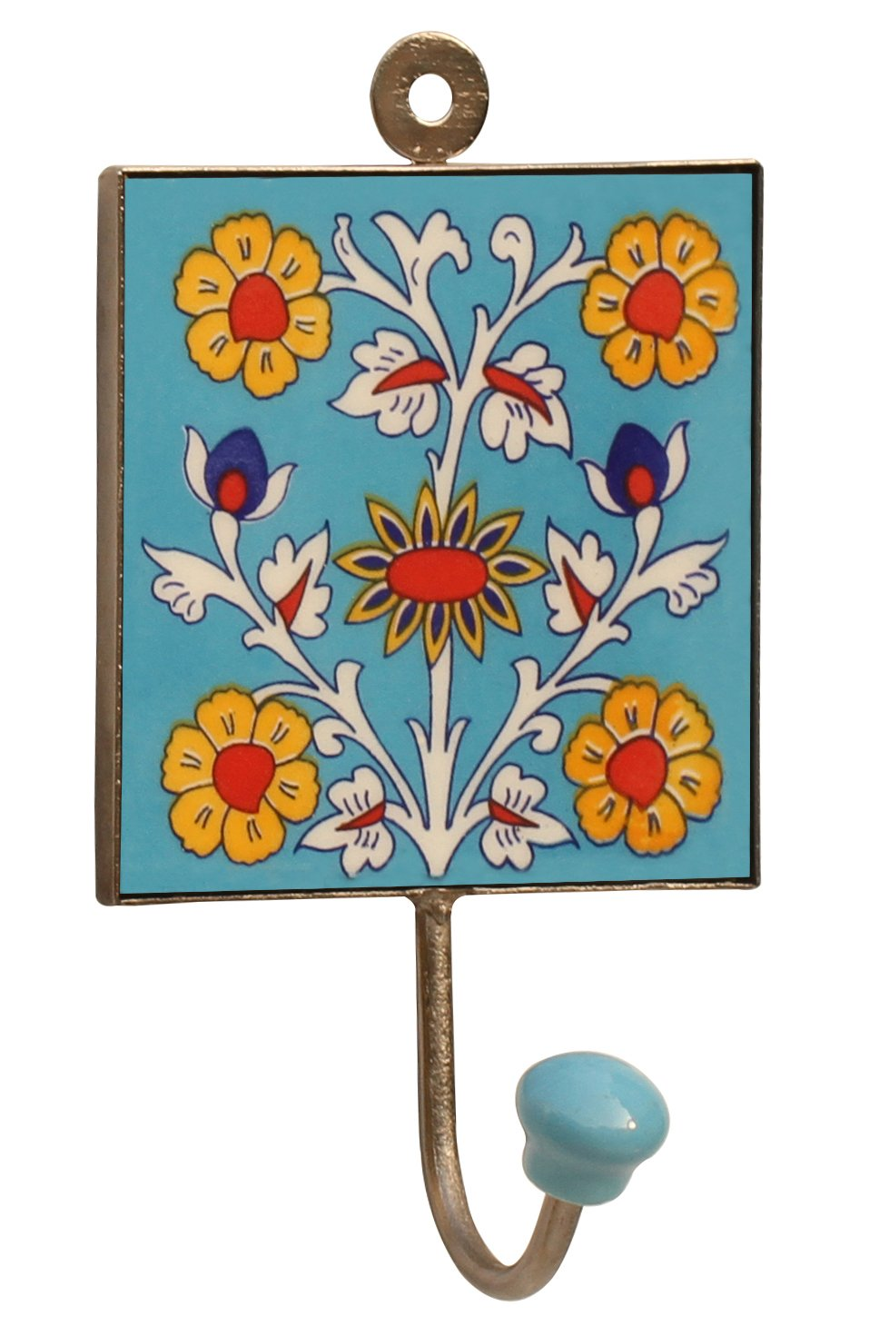 SouvNear Handmade 6'' Square Ceramic Iron Wall-Hook with Flower Design - An Artistic Way to Hang Clothes / Umbrellas / Bags / Hats / Belts / Wall Décor Accessories
