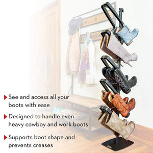 Budget friendly boot butler standing boot rack as seen on rachael ray clean up your floor protect your boots 5 pair stand organizer shaper tree