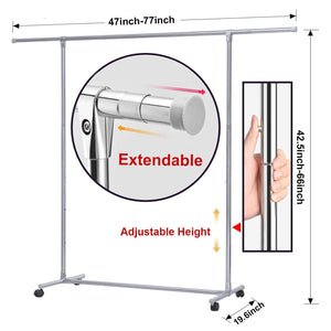 Order now reliancer heavy duty large garment rack stainless steel clothes drying rack commercial grade extendable 47 77inch clothes rack adjustable clothes hanger rolling rack with 4 casters tool golves 10 hook